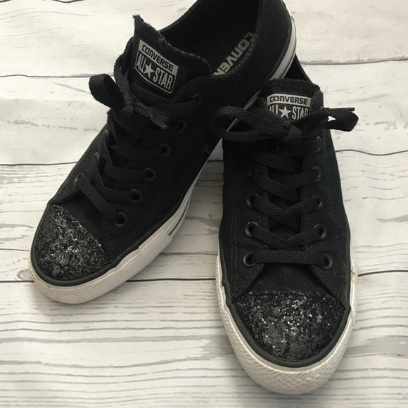 03ab114aa5c8 Converse Shoes - Black converse with black glitter toe